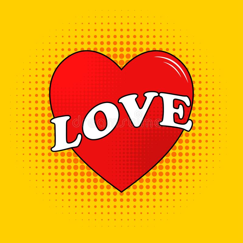 Vector Love Text On Ribbon With Heart In Cartoon Style Design For