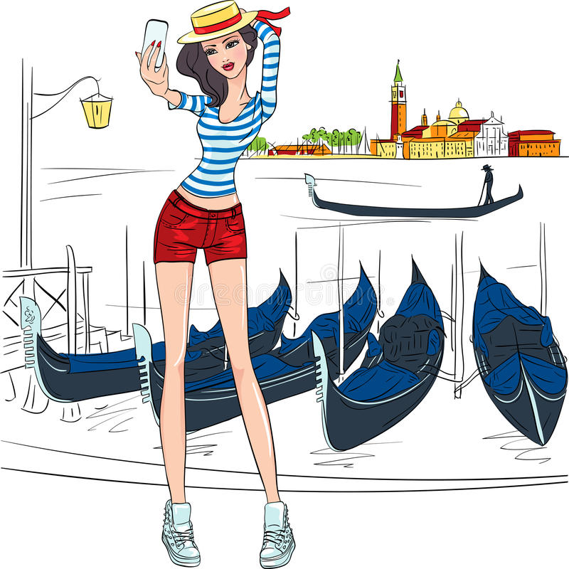 Vector lovely fashion girl makes selfie in Venice royalty free stock photography