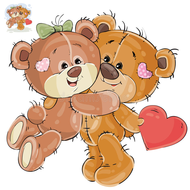 Vector loving brown teddy bear hides behind his back a valentine, and his girlfriend hugs him by the neck. Vector illustration of a loving brown teddy bear hides vector illustration