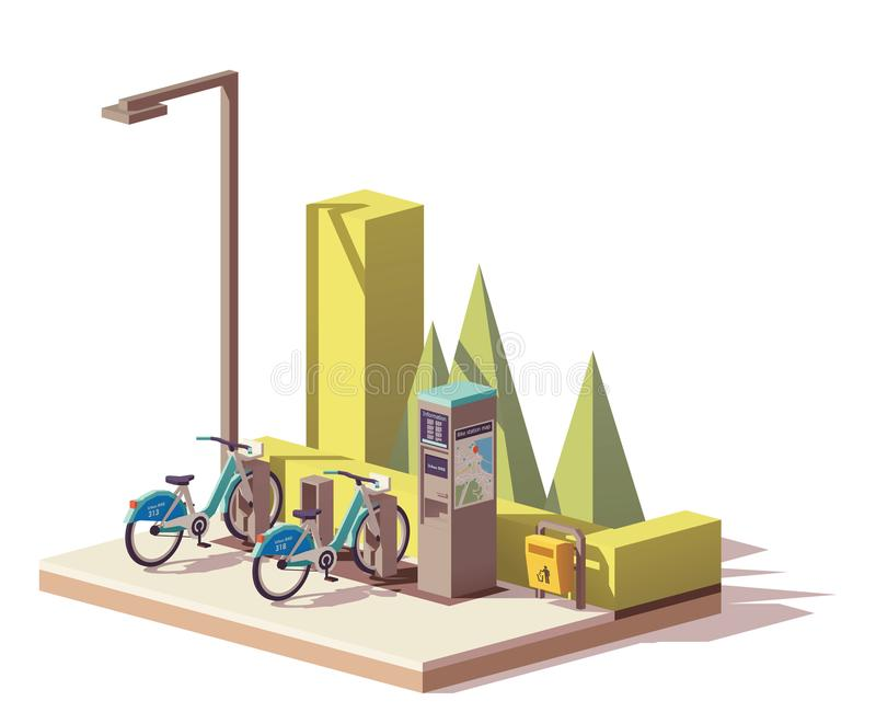 Vector low poly bicycle sharing system vector illustration