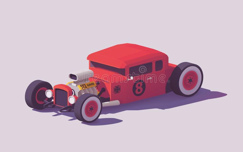 Vector low poly classic hot rod car stock illustration