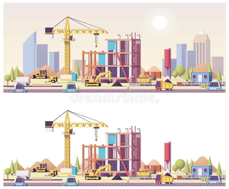Vector low poly construction site. Vector low poly building construction site royalty free illustration
