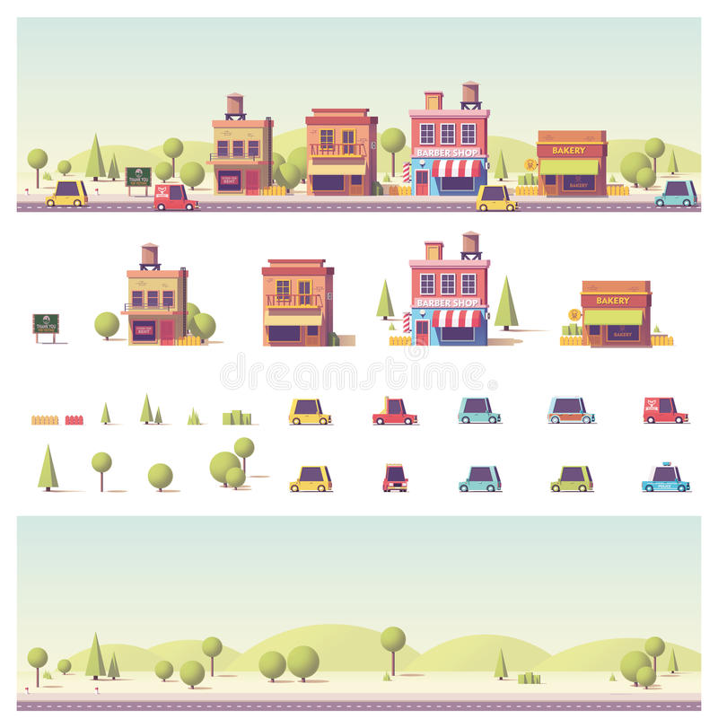 Vector low poly 2d buildings and city scene royalty free illustration