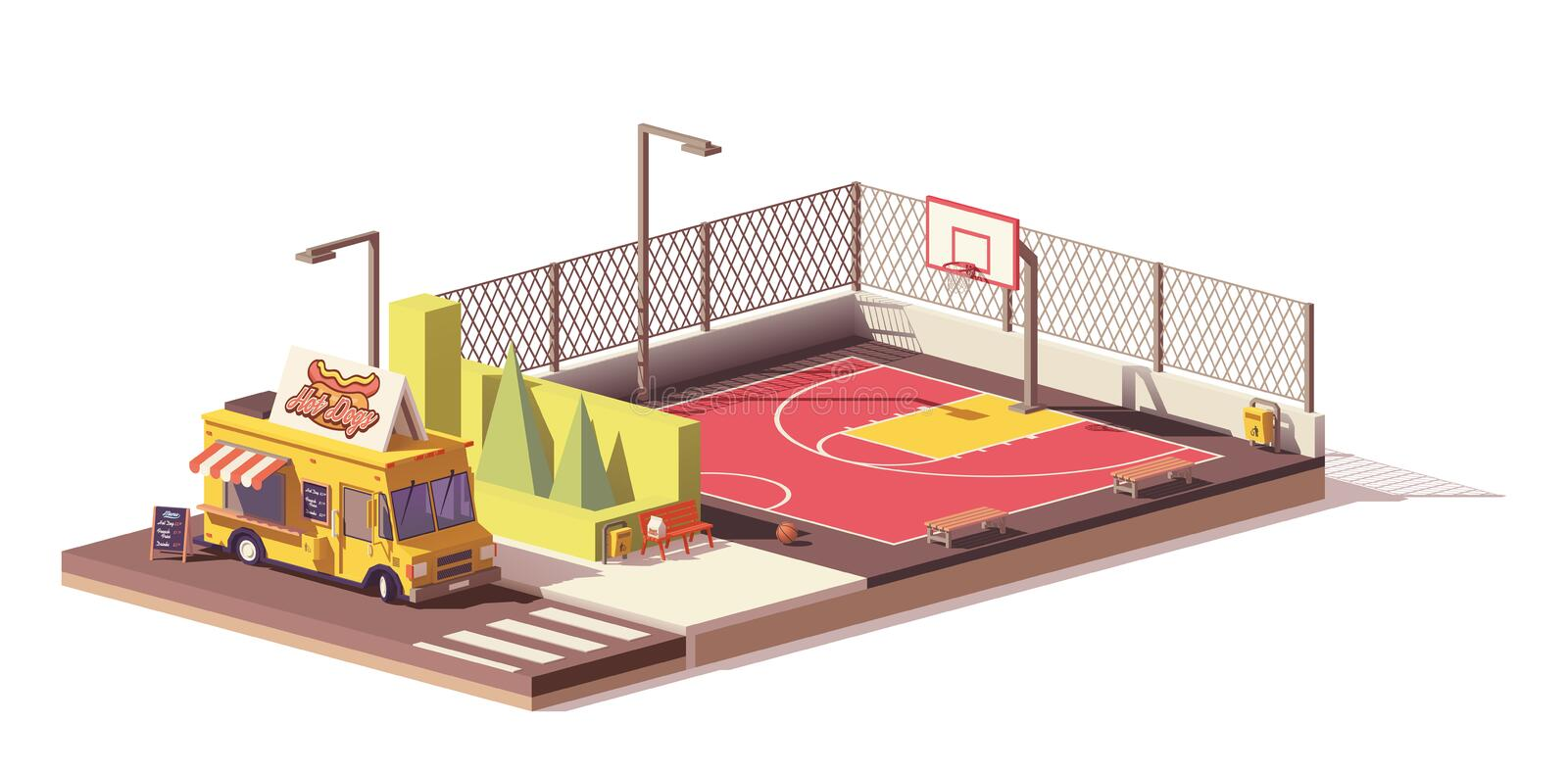 Vector low poly food truck and basketball court vector illustration