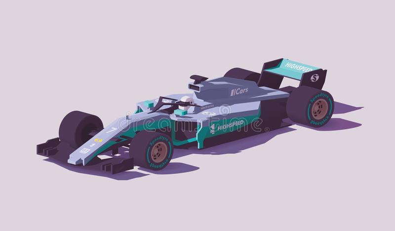 Vector low poly formula racing car royalty free illustration