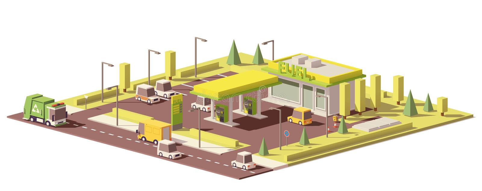 Vector low poly gas station royalty free illustration
