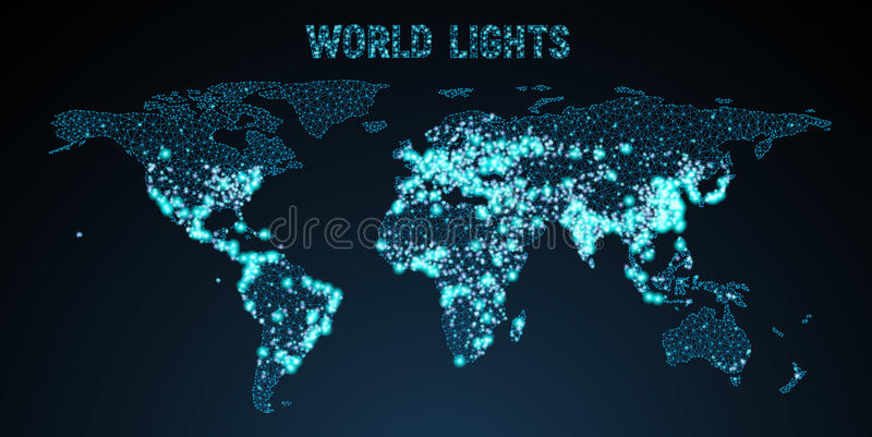Vector low poly image of a global map with lights stock vector download vector low poly image of a global map with lights stock vector illustration gumiabroncs Images