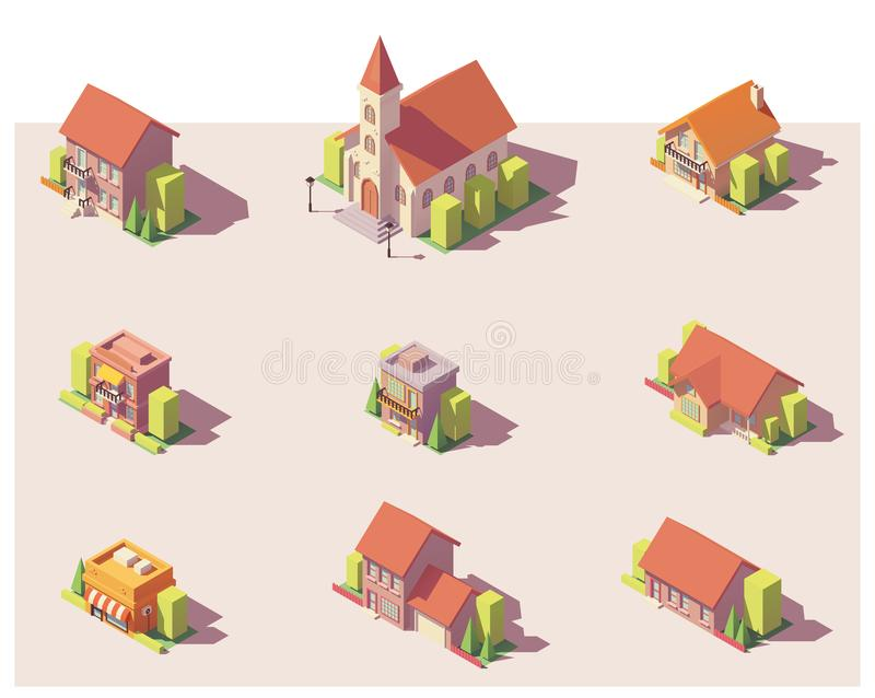 Vector low poly isometric buildings set vector illustration