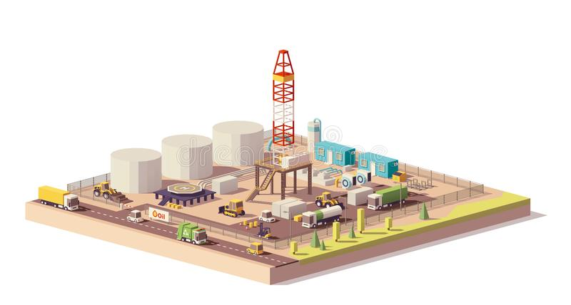 Vector low poly land oil and gas drilling rig. Vector low poly land oil or gas drilling rig and related machinery and structures royalty free illustration