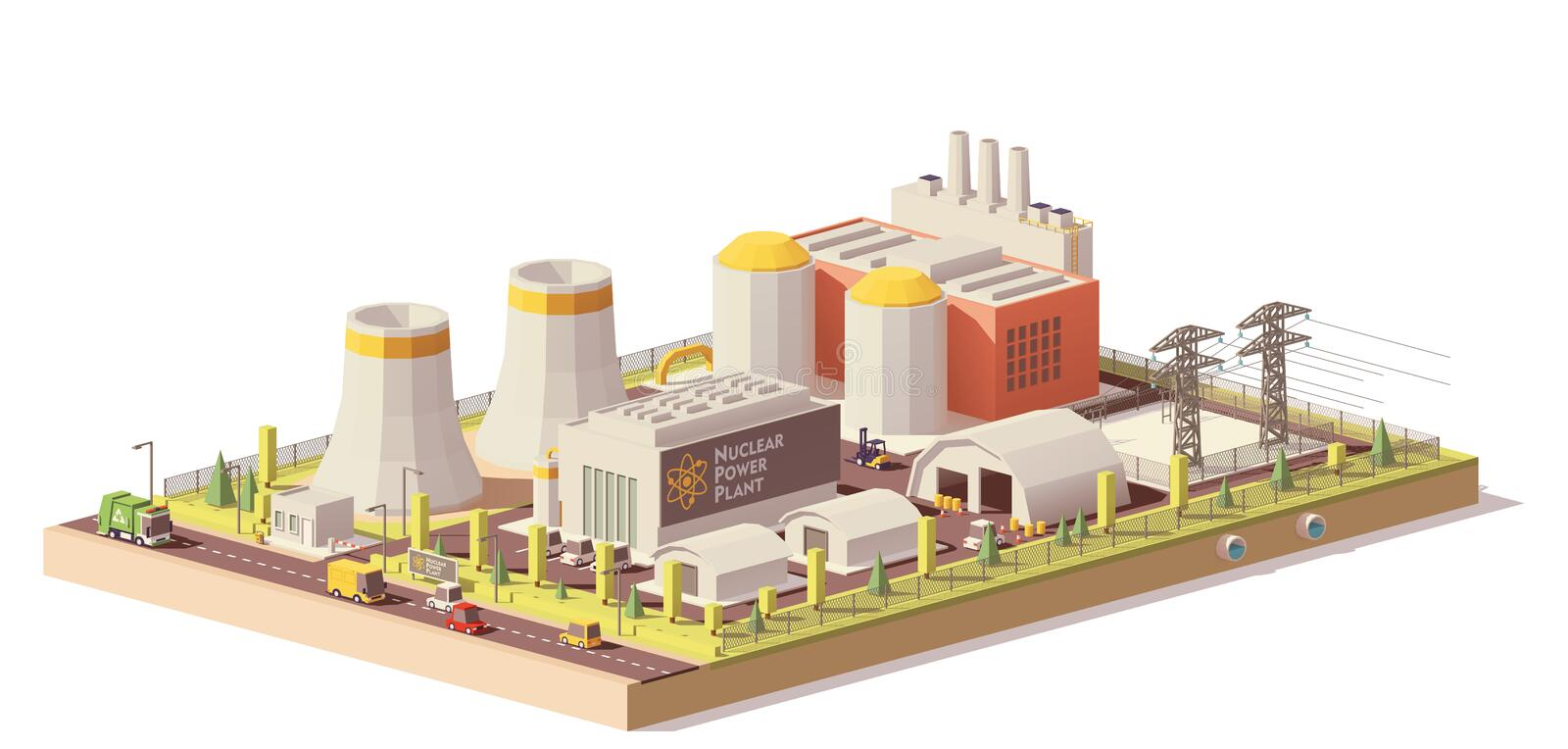 Vector low poly nuclear power plant stock illustration
