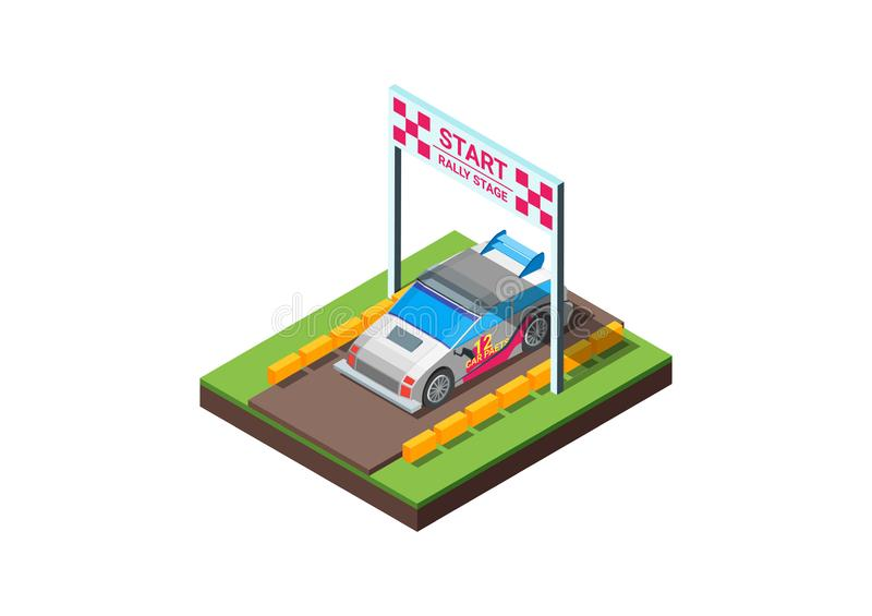 Vector low poly rally racing car in white and red livery on the rally stage start Line stock illustration