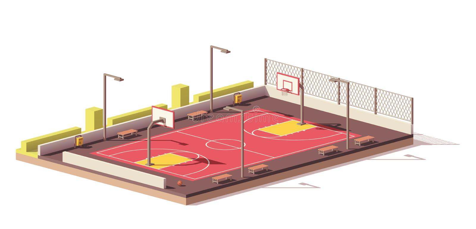 Vector low poly basketball court vector illustration