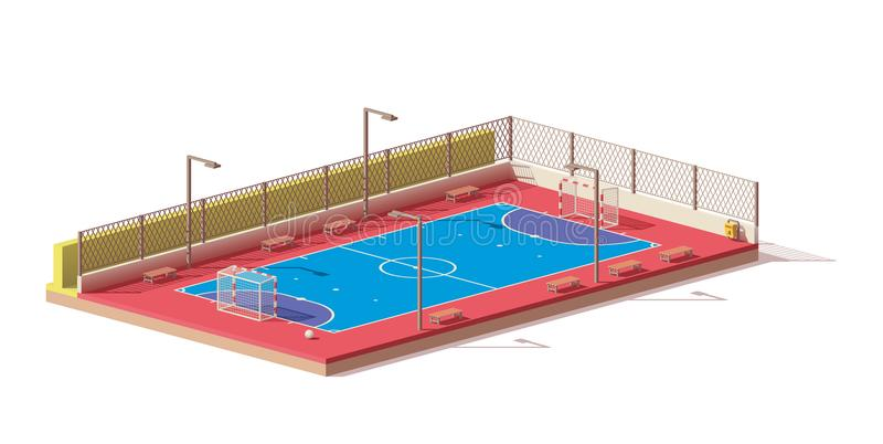 Vector low poly futsal court. Vector low poly street futsal court royalty free illustration