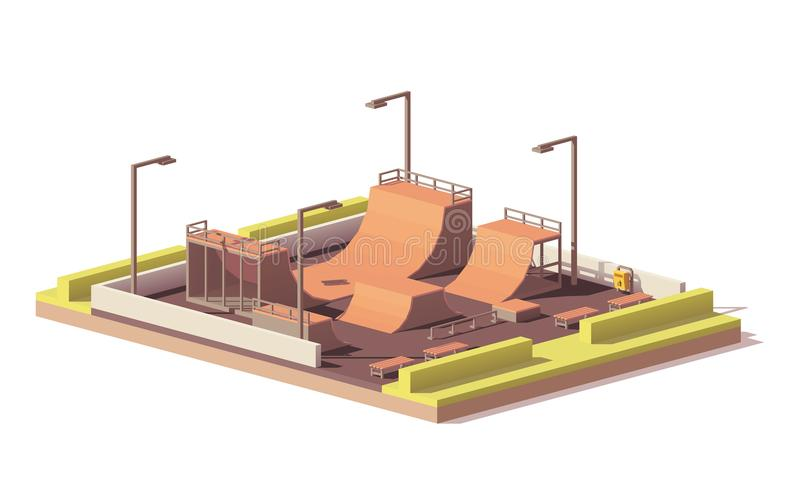 Vector low poly skate park royalty free illustration