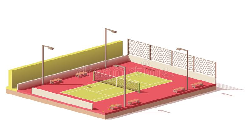 Vector low poly tennis court vector illustration