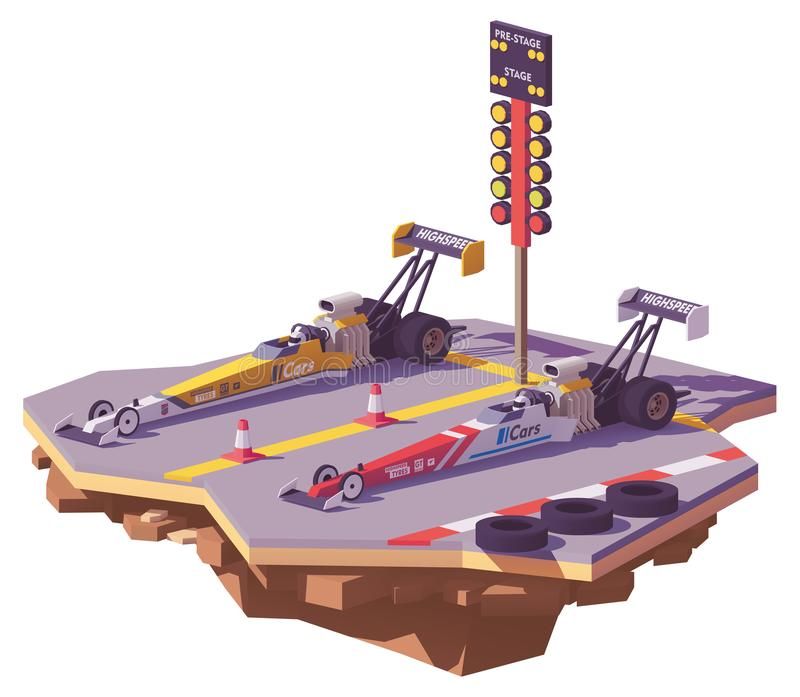 Vector low poly top fuel drag race vector illustration
