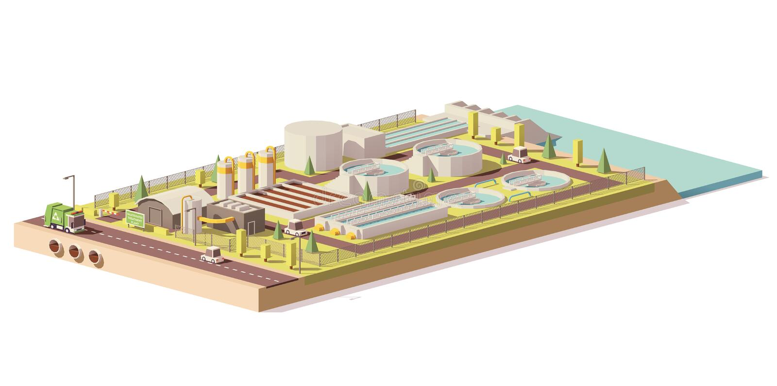 Vector low poly wastewater treatment plant royalty free illustration