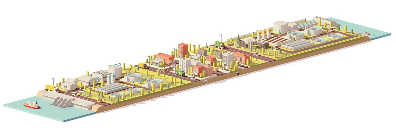 Vector low poly water treatment and consumption. Illustration. Includes water and wastewater treatment plants and city royalty free illustration