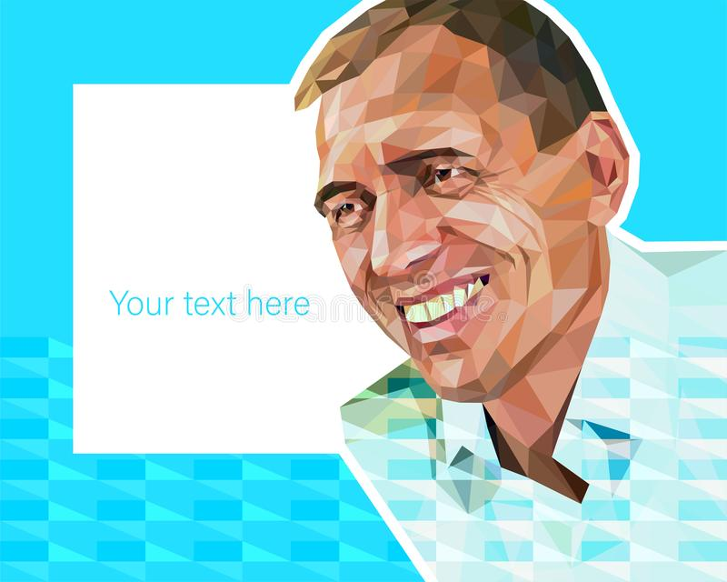 Vector low polygon style illustration - portrait of middle-aged attractive man stock illustration