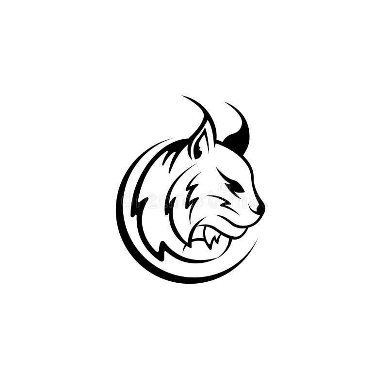 Vector Luchskopf, Gesicht für Retro- Logos, Embleme, Ausweise, Aufkleber Schablone und T-Shirt Weinlesegestaltungselement Lokalis lizenzfreie abbildung