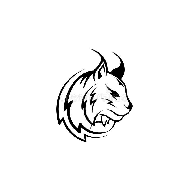 Vector Luchskopf, Gesicht für Retro- Logos, Embleme, Ausweise, Aufkleber Schablone und T-Shirt Weinlesegestaltungselement Lokalis stock abbildung