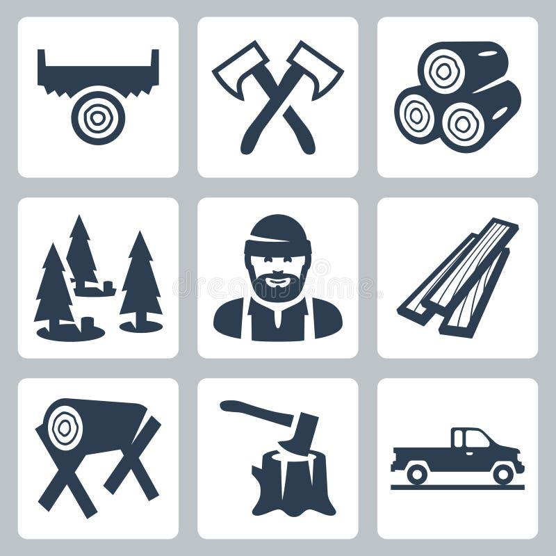 Free Vector Lumberjack Icons Set Stock Photography - 38523402