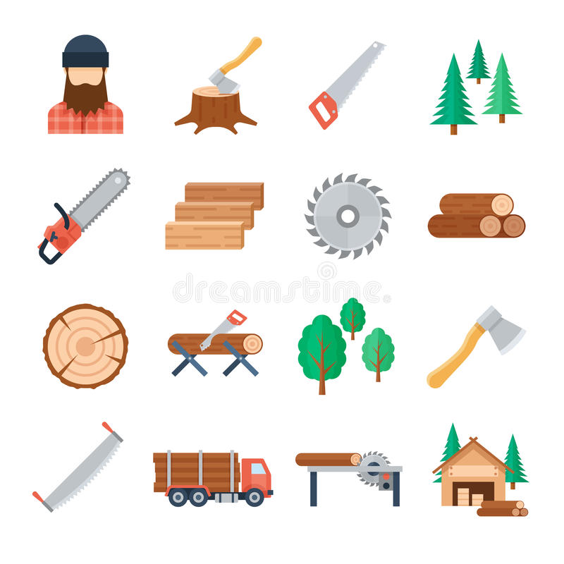Vector lumberjack icons set in flat style stock illustration