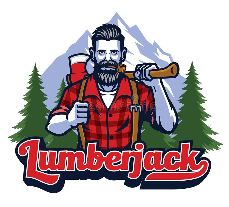 Lumberjack with pipe and holding the big axe royalty free illustration