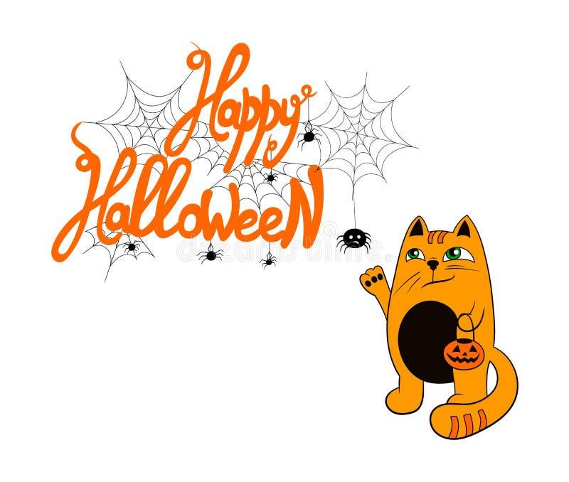 Vector lustige Halloween-Gruß-Illustration, Karten-Schablone, Leuchtorange ` glückliche Halloween-` Beschriftung und nette rote K stock abbildung