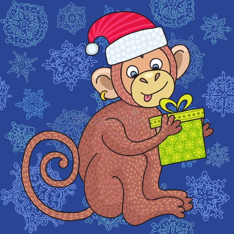 Vector lustigen Affen auf dem blauen Hintergrund von Schneeflocken, glücklicher Affe der Illustration für Kinder lizenzfreie abbildung
