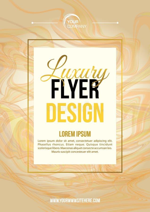 Vector luxe, moderne flyersjabloon met marmer textuur in goud en witte kleur royalty-vrije stock afbeelding