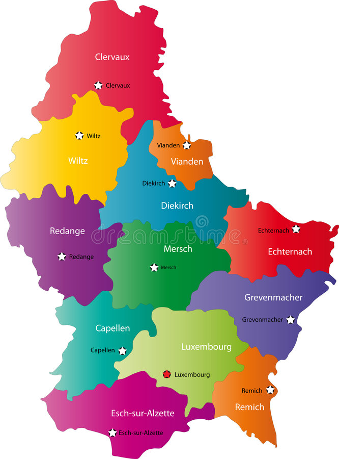 Vector Luxembourg map royalty free illustration