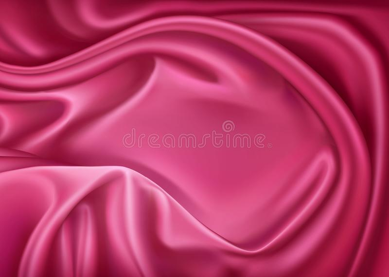 Vector luxury realistic pink silk, satin textile stock illustration