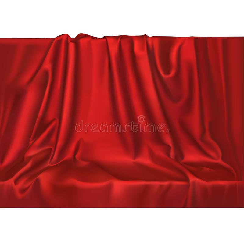 Vector luxury realistic red silk satin drape textile background. Elegant fabric shiny smooth material vector illustration