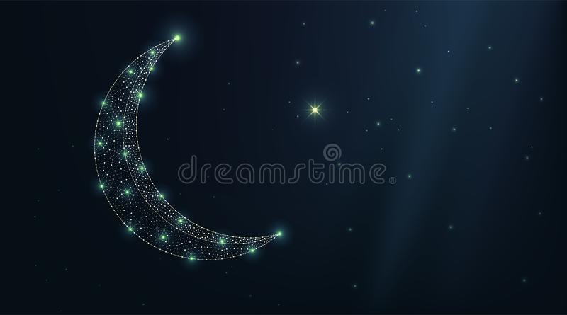 Vector luxury turkey moon and star on a night sky. Abstract low polygonal wireframe particles dark background. Design art for royalty free illustration