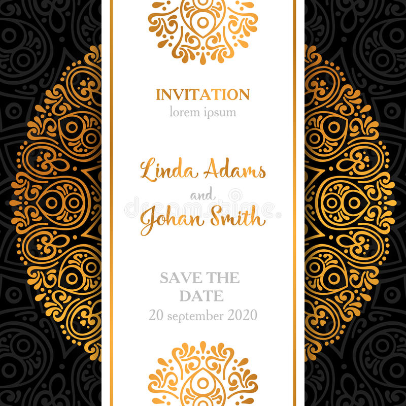 Vector Luxury Wedding Invitation With Mandala Stock Vector ...