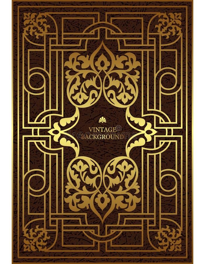 Vector Luxusweinlesegrenze in der barocken Art mit Goldblumenmusterrahmen Die Schablone für die Bucheinbänd, alte königliche Seit vektor abbildung