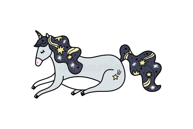 Vector lying night unicorn. Poster and banner element, children's book illustration, postcard stock illustration