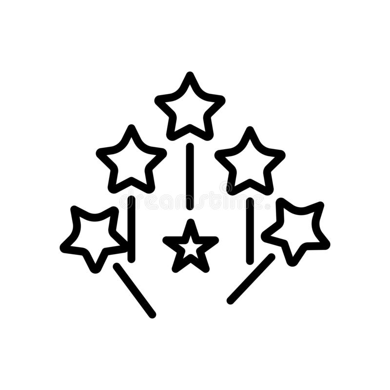 Vector mágico del icono de la vara aislado en el fondo blanco, la muestra mágica de la vara, la línea y elementos del esquema en  ilustración del vector