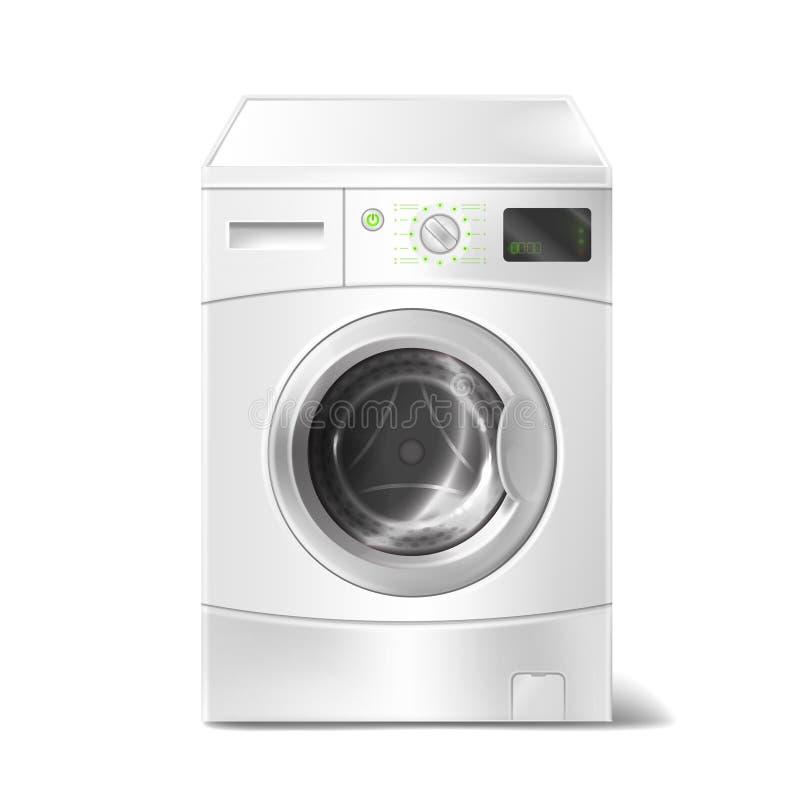 Vector a máquina de lavar realística com exposição esperta no fundo branco Dispositivo bonde para trabalhos domésticos, lavanderi ilustração royalty free