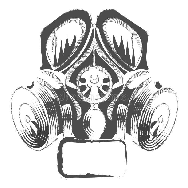 Vector a máscara de gás do estilo do steampunk dos grafittis do respirador no fundo branco ilustração royalty free