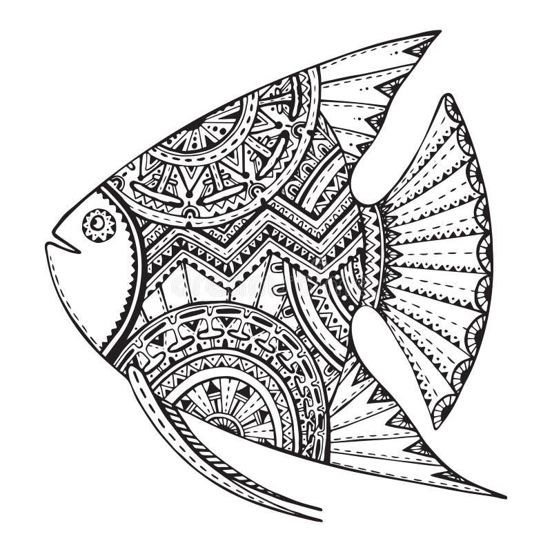 Vector mão bonita peixes tirados no estilo do gráfico do zentangle ilustração stock