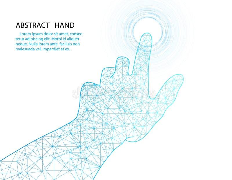 Vector a mão e o projeto da tecnologia do círculo no fundo branco da cor ilustração royalty free