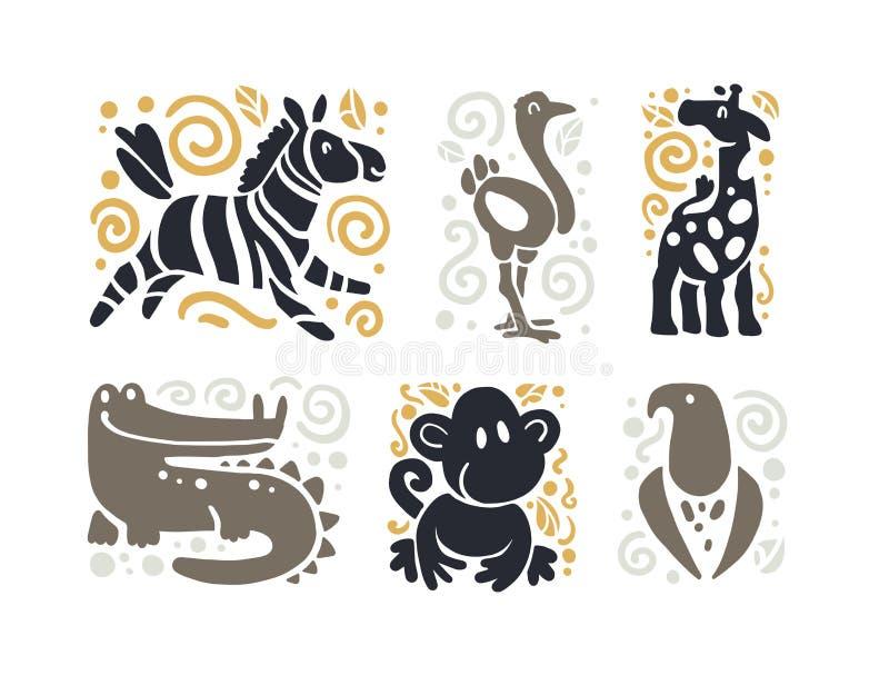 Vector mão engraçada bonito lisa a silhueta animal tirada isolada no fundo branco - zebra, avestruz, girafa, crocodilo, macaco e ilustração royalty free
