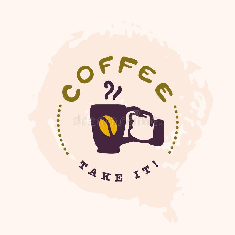 Vector mão lisa o molde tirado do logotipo do café com a mão humana que mantém o copo de café isolado no fundo branco ilustração do vetor