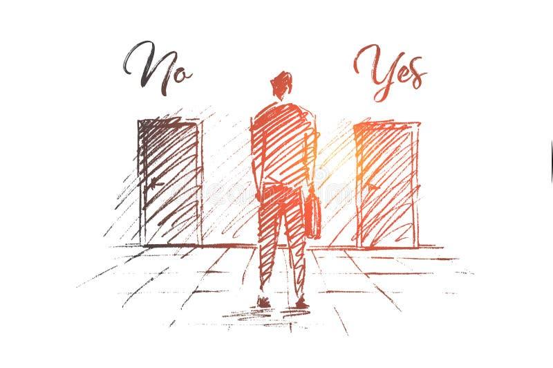 Vector a mão tirada nenhum esboço do conceito da solução do negócio do Yes ilustração do vetor