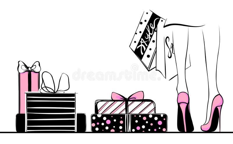 Vector Mädchen in den hohen Absätzen, die durch Einkaufstaschen, Geschenk boxe umgeben werden lizenzfreie abbildung
