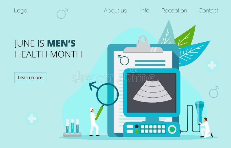 Vector médico del concepto del mes de la salud de los hombres nacionales stock de ilustración