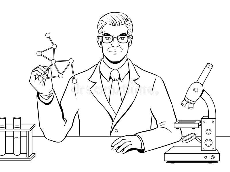 Vector Médico Del Libro De Colorear Del Científico Del Químico ...