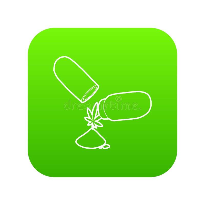 Vector médico del verde del icono de la píldora de la marijuana libre illustration